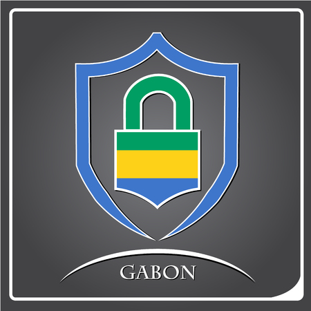 lock logo made from the flag of Gabon