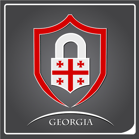 lock logo made from the flag of Georgia