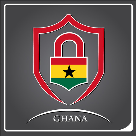 lock logo made from the flag of Ghana
