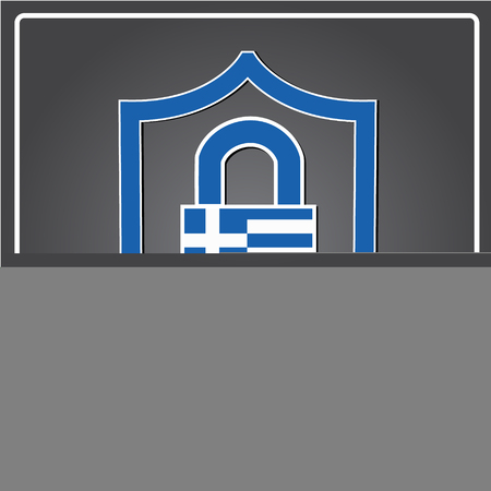 lock logo made from the flag of Greece Illustration