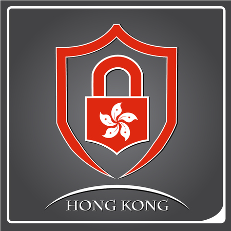 lock logo made from the flag of Hong Kong Illustration