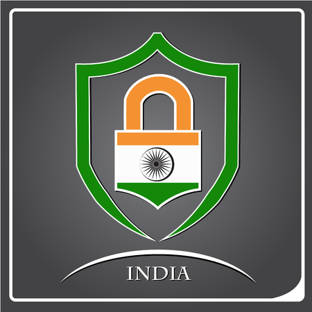 lock logo made from the flag of India