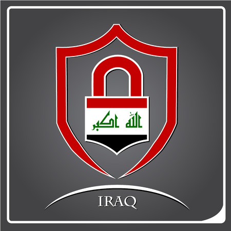 lock logo made from the flag of Iraq Illustration