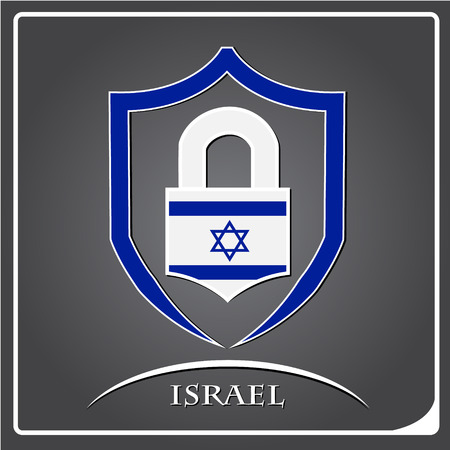 lock logo made from the flag of Israel