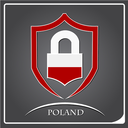 lock logo made from the flag of Poland