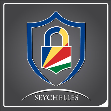 lock logo made from the flag of Seychelles