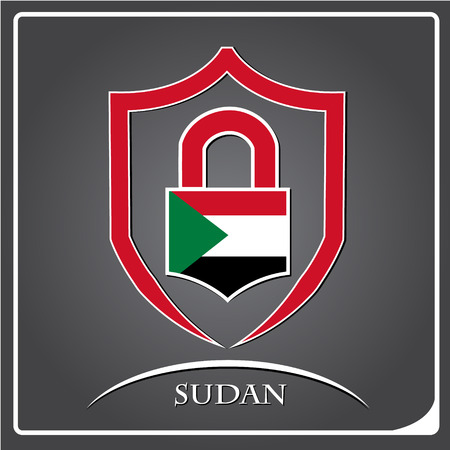 lock logo made from the flag of Sudan