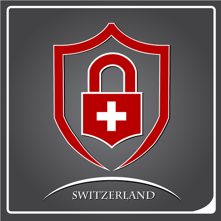 lock logo made from the flag of Switzerland