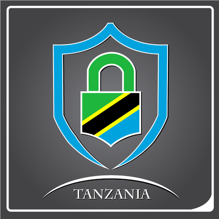 lock logo made from the flag of Tanzania Illustration