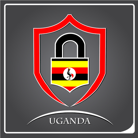 lock logo made from the flag of Uganda