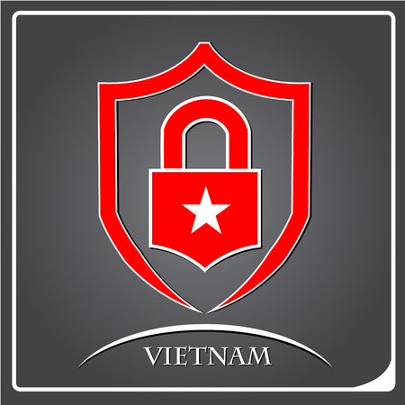 lock logo made from the flag of Vietnam Illustration