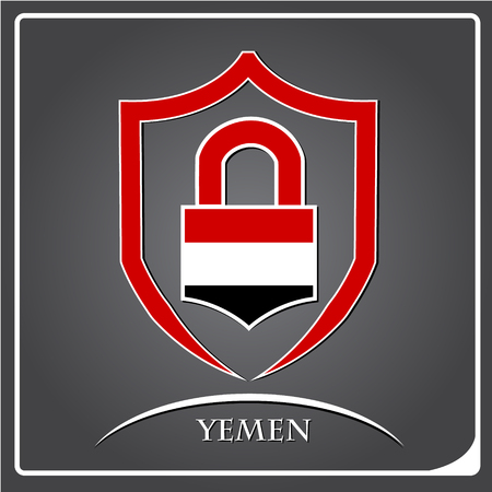 lock logo made from the flag of Yemen Illustration