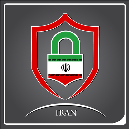 lock logo made from the flag of Iran