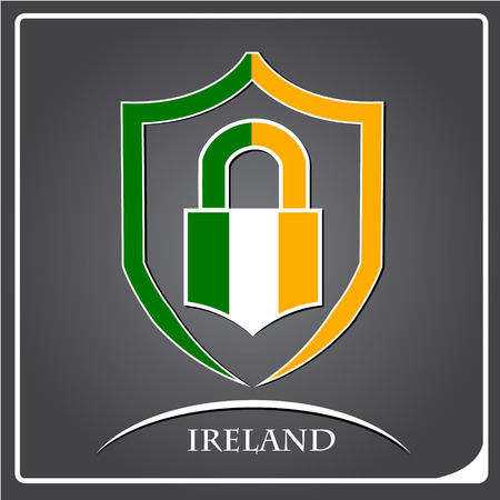 lock logo made from the flag of Ireland