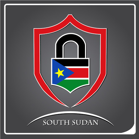 lock logo made from the flag of South Sudan