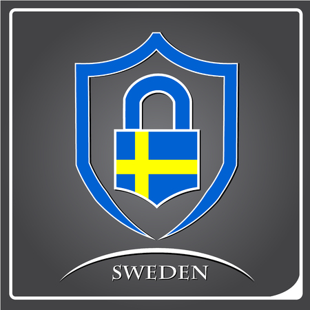 lock logo made from the flag of Sweden