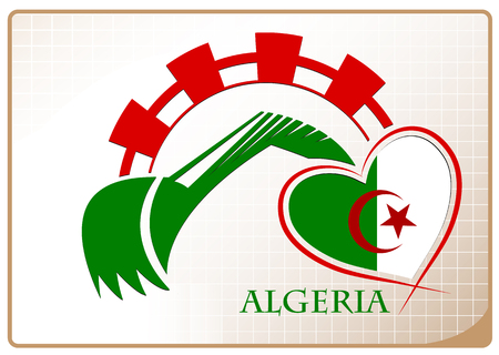 Backhoe design made from the flag of Algeria