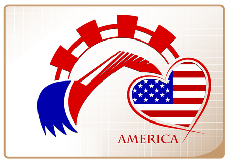 Backhoe design made from the flag of America