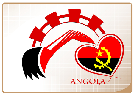 Backhoe design made from the flag of Angola Illustration