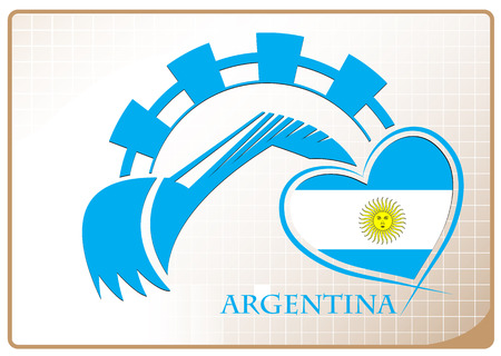 Backhoe design made from the flag of argentina