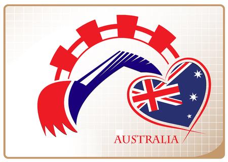 Backhoe design made from the flag of Australia