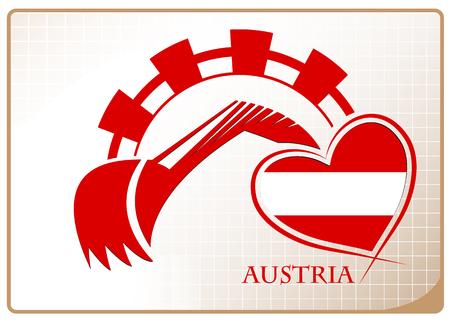 Backhoe design made from the flag of Austria Ilustração