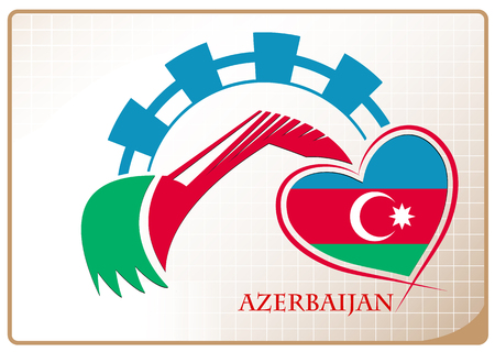 Backhoe design made from the flag of Azerbaijan