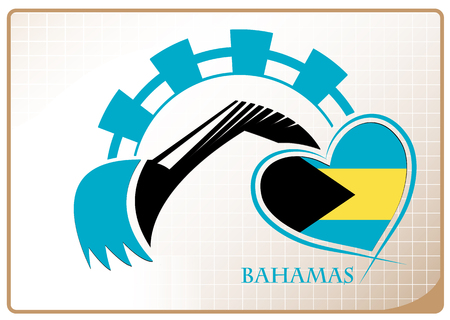 Backhoe design made from the flag of Bahamas