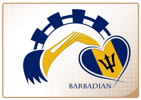 Backhoe logo made from the flag of Barbadian