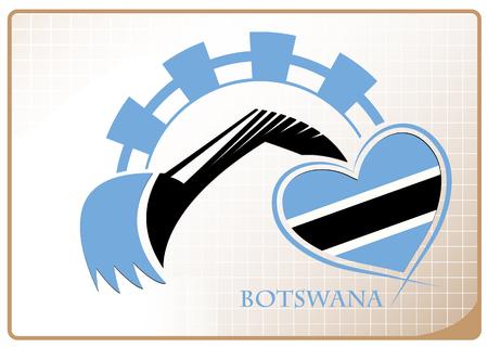 Backhoe logo made from the flag of Botswana