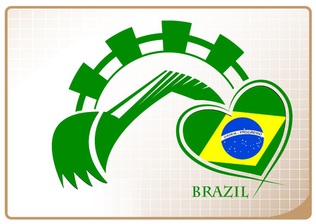 Backhoe logo made from the flag of brazil