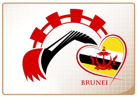 Backhoe logo made from the flag of brunei