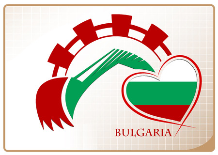 Backhoe logo made from the flag of Bulgaria