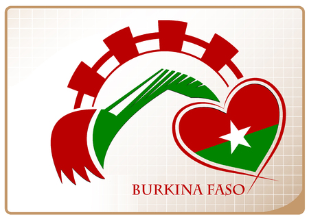 Backhoe logo made from the flag of Burkina Faso