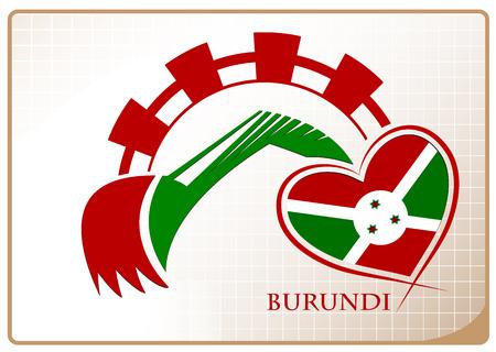 Backhoe logo made from the flag of burundi