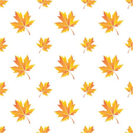 Seamless pattern of maple leaves, vector illustration.