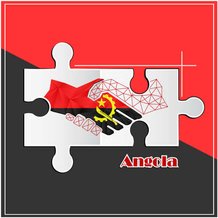 Handshake made from the flag of Angola