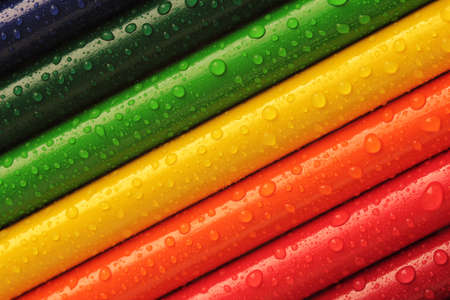 Waterdrops on the colorful pen Stock Photo