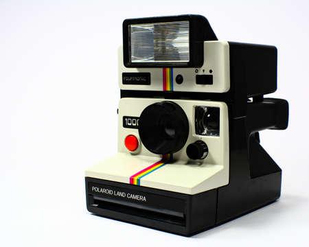 Polaroid land camera on the background Editorial