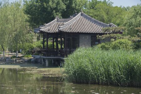 Siamese double pavilions built on the lake in Chinese gardens