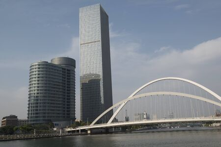 Modern bridges and riverbank landscapes in the city center