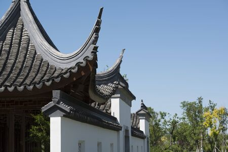 The cornice of the classical architecture of southern China in the Chinese style garden