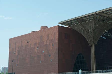 Large modern public buildings with unique material texture