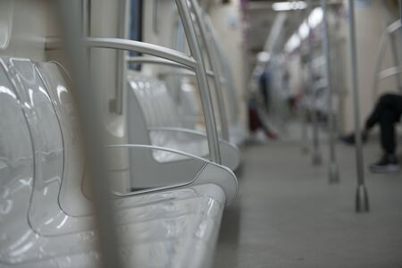 Empty and quiet carriages of the last subway