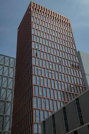 Tianjin Binhai New Area dark red extension frame high-rise modern building