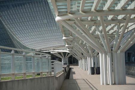 Steel structure promenade in front of Urban modern architecture 版權商用圖片