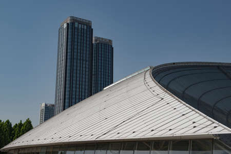 Partial close-up of the main building of Urban modern architecture 新聞圖片