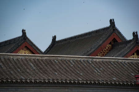 Overlapping roof ridges and eaves of Tianjin's large-scale Chinese antique buildings Stock Photo