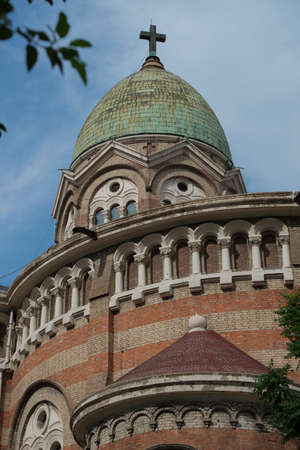 Tianjin has a century-old Romanesque three-domed Catholic church part Stock Photo