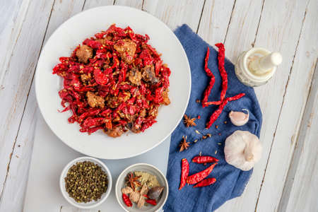 Chicken with sichuan chili peppers Stock Photo
